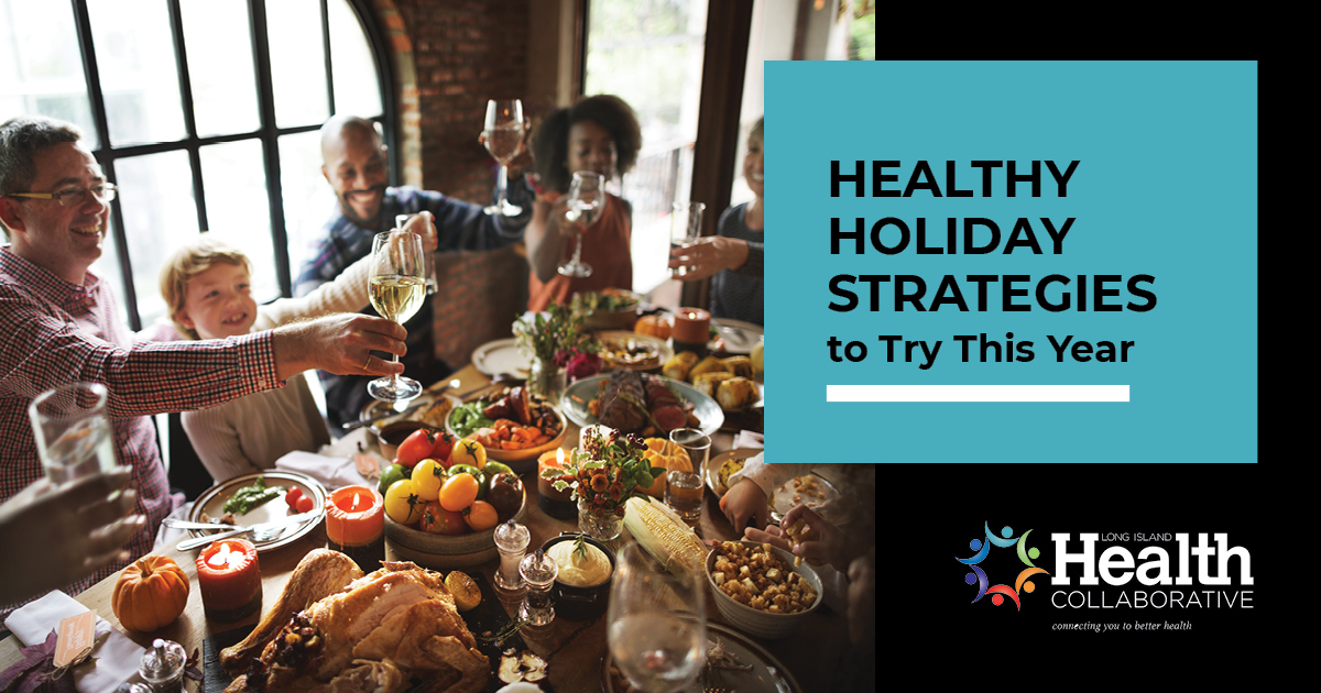 Healthy holiday strategies header featuring a family sh