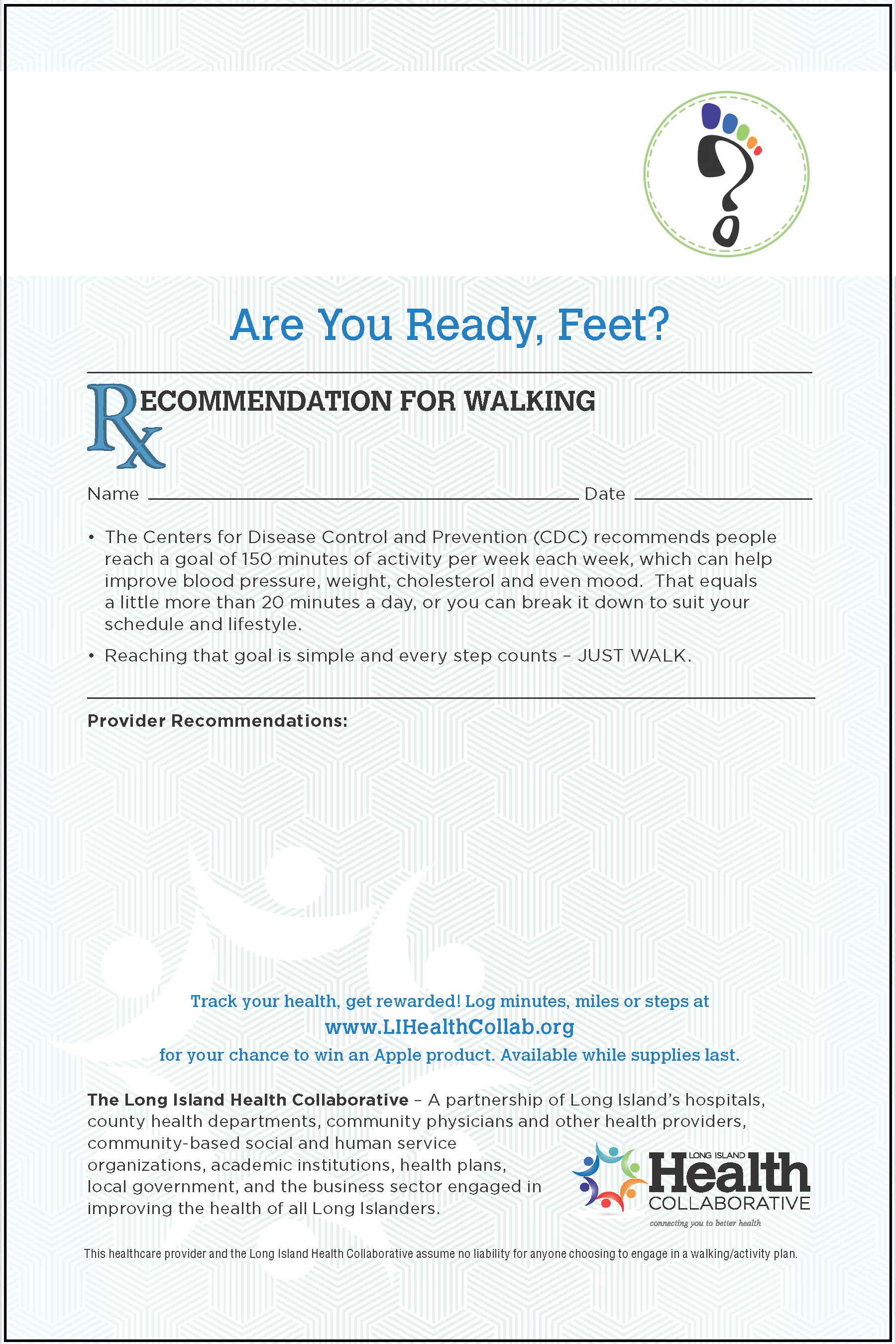 Prescription Pad - Recommendation For Walking LIHC